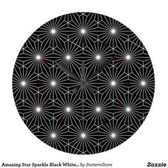 Amazing Star Sparkle Black White Optical Illusion Wall Clocks by Paul Stickland for EEEK! Large Clock, Wall Clocks, Optical Illusions, Sparkle, Display, Black And White, Stars, Cool Stuff, Amazing