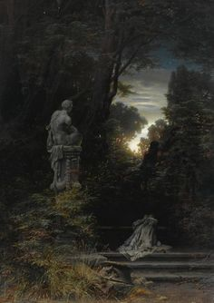 Ferdinand Knab (German, 1834-1902), A Woman at the Fountain with Rising Moon, 1866, Sotheby's sale, 2008
