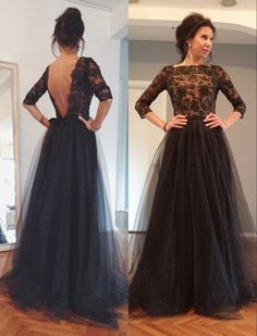 Black V-back Lace Prom Dress,Black Evening Dress,Black Tulle Prom Dress,V-back Tulle and Lace Bride of the Mother Dress
