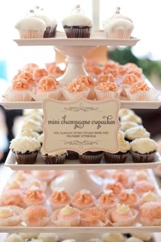 Mini champagne cupcake display for a bridal shower - love the ring cupcake toppers on the top tray!