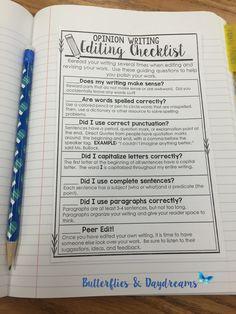 Opinion Writing Editing Checklist Notebook Anchor Chart, Opinion Writing Unit Resources, Writing Notebook Charts, Planners, Writing Center Charts, Teaching Ideas for Grades 3-5 Editing Writing, Writing Lessons, Writing Skills, Essay Writing, Writing Ideas, Creative Writing, Informational Writing, Persuasive Writing, Teaching Writing