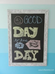 Chalkboard Frame Wall Decor Ombre Accent Wall #chalkboard #Christmas #thanksgiving #Holiday #quote