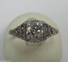 Filigree 14k White Gold Diamond Engagement Ring size 5.75