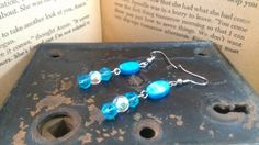 Blue Mother of Pearl Earrings by MaleseDesigns on Etsy, $6.50