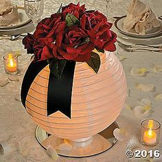 Craft your own party decorations with this Lighted Floral Lantern Centerpiece Idea. Paper Lantern Centerpieces, Lantern Centerpiece Wedding, Wedding Lanterns, Party Centerpieces, Paper Lanterns, Wedding Decorations, Table Decorations, Diy Lantern, Centerpiece Ideas