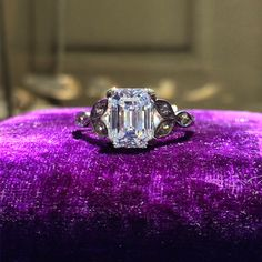 2.43ct Edwardian Platinum & Emerald Cut Diamond Engagement Ring. GIA certified: VS1 in clarity, K in color. Circa 1915.