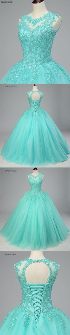 Mint Green Quinceanera Dresses 2017 Tulle Appliques Vestidos De 15 Anos Sweet 16 Dresses Debutante Gowns Dress For 15 Years