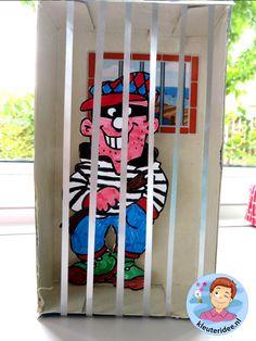 gevangenis knutselen met kleuters 2, kleuteridee.nl, thema politie met gratis downloads