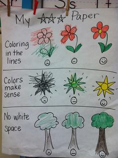 Coloring Rubric- Great for kindergarten! For those kids that need guidance and are not necessarily expressing themselves through coloring but only rushing to finish!