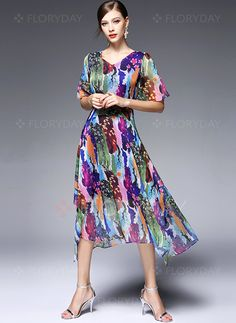 Dresses - $54.30 - Chiffon Color Block Short Sleeve Mid-Calf Casual Dresses (1955102034)