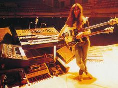 Yes That is Geddy Lee with his arsenal of Keyboards on the Moving Pictures Tour