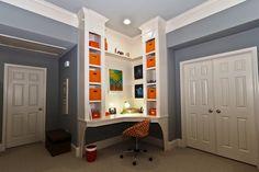 Tall shelving corner desk