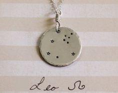 Leo collar, collar de plata de ley, muestra de leo, collar de la estrella, joyería leo, joyas zodiac, collar de regalo de Navidad