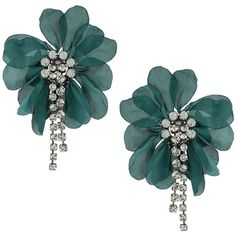 Lanvin oversized flower clip-on earrings ($595) ❤ liked on Polyvore featuring jewelry, earrings, blue, flower jewellery, flower clip on earrings, blue jewelry, clip back earrings and lanvin jewelry