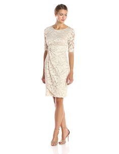 Connected Apparel Women's Elbow Sleeve Lace Side Gathered Dress at Amazon Women's Clothing store: