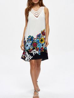 Loose Patchwork Print Sleeveless V Neck Women Dresses is high-quality, see other cheap summer dresses on NewChic. Sexy Lace Dress, White Sleeveless Dress, Hot Dress, Sexy Dresses, Vintage Dresses, Nice Dresses, Black And White Long Dresses, Cheap Summer Dresses, Long Sleeve Sweater Dress