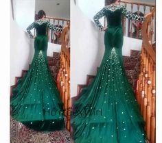 Winter 2016 Velour Long-Evening Dresses with Chapel-Train Crystal Beaded Emerald Green Charming Full-Sleeve Luxury Prom Dresses >>http://www.luulla.com/store/honeeygirl