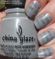 Nail polish with newspaper print!