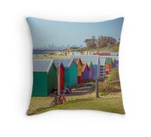 The Long View of the Brighton Bath Huts - Brighton, Victoria Throw Pillow