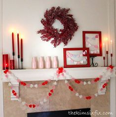 Valentine's Day Mantel in pink, white and red.
