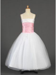 Ball Gown Short/Mini/Floor-length Flower Girl Dress - Tulle/Charmeuse Sleeveless Straps With Sash