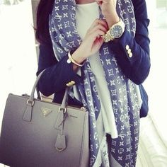 Prada bag and Louis Vuitton scarf. Prada bag and Louis Vuitton scarf. Louis Vuitton Denim, Foulard Louis Vuitton, Mode Outfits, Stylish Outfits, Fall Outfits, Summer Outfits, Looks Street Style, Looks Style, Style Me