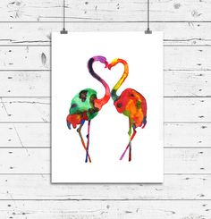 "FREE SHIPPING WORLDWIDE **Buy ANY 2 prints & GET 1 FREE **I am offering a ""Thank You"" coupon with a 10 Euro ($13.7 approx) discount for your next purchase  Love Flamingo Birds art print Watercolor painting by ArtistiCorner, €25.00"