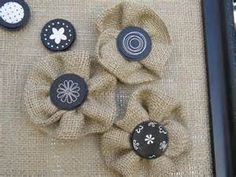 burlap crafts - Yahoo! Image Search Results - love the burlap and button flowers
