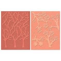 Sizzix Textured Impressions Embossing Folders 2PK - Cherry Blossoms & Trees Set by Susan Tierney-Cockburn $10.55 ss35