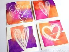 Discover recipes, home ideas, style inspiration and other ideas to try. Crafts For Kids, Arts And Crafts, Tape Painting, Oil Pastel Drawings, Little Presents, Valentines Art, Valentine Drawing, Art Activities, Teaching Art