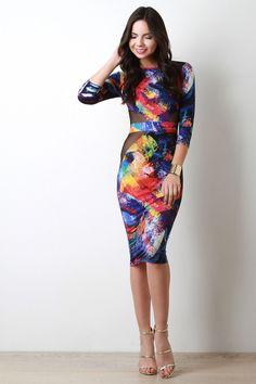 Spay Paint Print Mesh Cut Out Dress