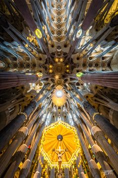 Interior of Sagrada Familia, Barcelona by Clément Celma. Original design was by Gaudi Antonio Gaudi, Architecture Cool, Houses Of The Holy, Kirchen, Wide Angle, Beautiful World, House Design, Photos, Barcelona Catalonia