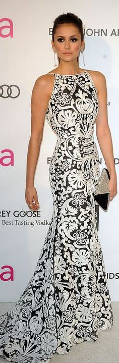 Nina Dobrev after Oscar party 2013 - Naeem Khan http://findanswerhere.com/womensfashion