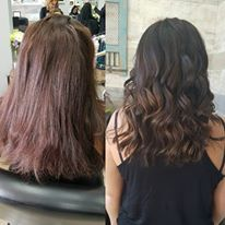 dark chocolate brown allover colour with beige brown balayage ends create a lovley natural hair colour. finished with some beachy waves.