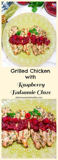 This grilled chicken with raspberry balsamic glaze is so flavorful and festive. If you are looking for a different grilled chicken recipe to wow your family or friends, this one is a winner. www.deliciousmeetshealthy.com