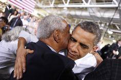 President Obama embraces Judge Damon Keith 2013