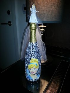 Blinged out Champagne Bottle!!!! Bridal shower gift, bachelorette gift, wedding gift, or birthday gift!  Awesome personalization with any photo or colored bling. Bling Bling!