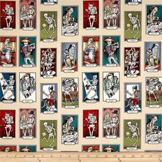 Alexander Henry Folklorico Cartas de Vida Tea/Multi from @fabricdotcom  From the DeLeon Group for Alexander Henry, this cotton print fabric features cards of skeletons doing everyday tasks, from cooking to gardening and playing soccer. Perfect for quilting, apparel and home decor accents. Colors include cream, white, black, red, pink, shades of blue and green, yellow and burnt orange.