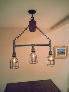 Hey, I found this really awesome Etsy listing at https://www.etsy.com/listing/194499836/hanging-industrial-pipe-pulley-light