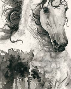 """""""Wind Whisperer""""  Andalusian horse made in watercolors and acrylics by Lullaby Equine Art - Laura Usero 30x40cm size on watercolor paper!  Hope you like!"""