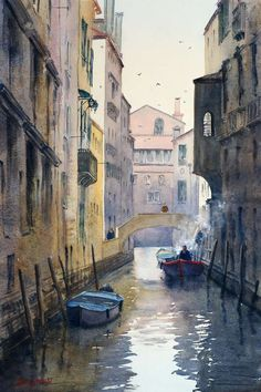 Venice-canal-with-smokey-motor-boat-watercolor-painting.jpg 532×800ピクセル
