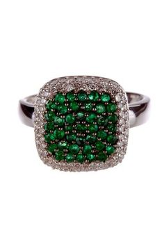 I really want this!   14K White Gold pave Emerald & Diamond Halo Cushion Ring