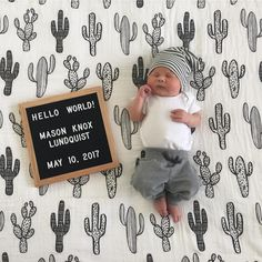 Hold your hearts for this one! Looking so perfect on our cactus love blanket! : @lululundy the biggest congratulations on your precious baby Mason! Who else used (or plans to use) MB in your little one's birth announcement?