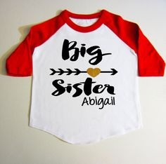 Big Sister shirt  Personalized Gift RAGLAN by createmeatshirt #big #sister #Baseball #tee #raglan #glitter #name #custom #red #shirt #pink #black