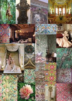 Tapestry, chinoiserie and exquisite family heirlooms. Belvoir Castle struck Matthew's imagination for the new collection. This studio mood board captures his first research trip. The Matthew Williamson Belvoir Collection mood board. Osborne And Little, Zen Space, Matthew Williamson, Surface Pattern, Chinoiserie, Colorful Interiors, Oriental, Tapestry, Table Decorations