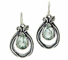 Or Paz Sterling 3.60cttw Quartz Leaf Design Teardrop Earrings
