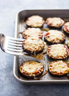 Low-Carb Eggplant Pizza Bites #EggplantPizzaRecipe
