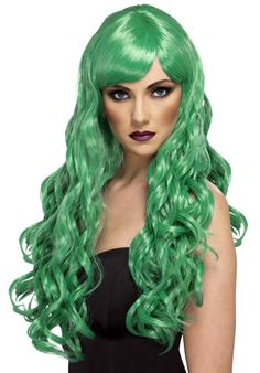 You can buy a Smiffy's Desire Wig for costume parties from the Halloween Spot. Complete any fantasy costume with this long curly blue desire wig with fringe. Fancy Dress Wigs, Adult Fancy Dress, Fancy Dress Outfits, Halloween Accessoires, Halloween Costume Accessories, Red Curly Wig, Curly Wigs, Halloween Wigs, Halloween Fancy Dress
