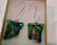 Glass earrings are handcrafted out of 100% recycled glass, with handmade Argentium Silver ear wires