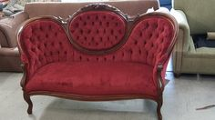This is a Tufted love seat, during upholstery and finished love seat.  Turned out very nice, customer was very happy.